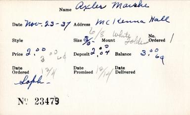 Index card for Marshe Axler