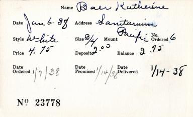 Index card for Katherine Baer