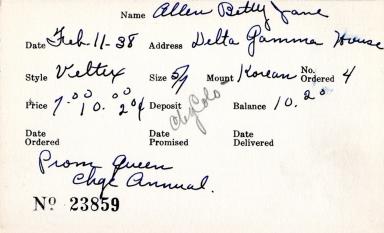 Index card for Betty Jane Allen
