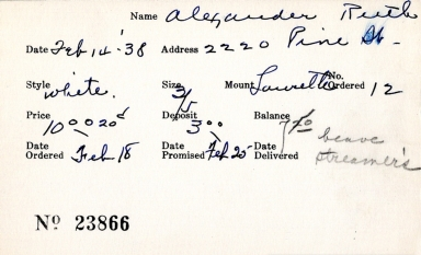 Index card for Ruth Alexander