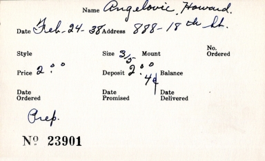 Index card for Howard Angelovic