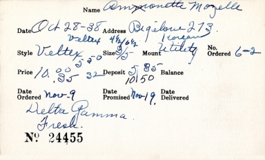 Index card for Mozelle Amonette