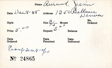 Index card for Jean Aurand