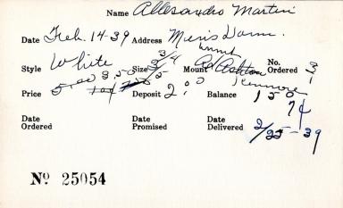 Index card for Martin Allesandro