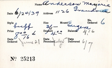 Index card for Marjorie Anderson