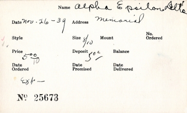 Index card for Alpha Epsilon Delta