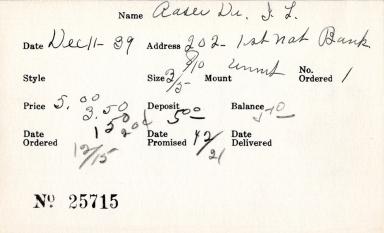 Index card for J. L. Aaser