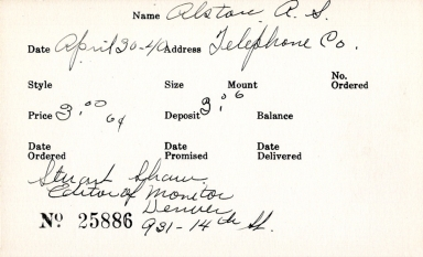 Index card for A. S. Alston