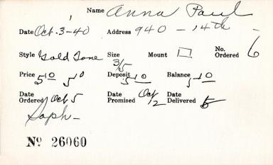 Index card for Paul Anna