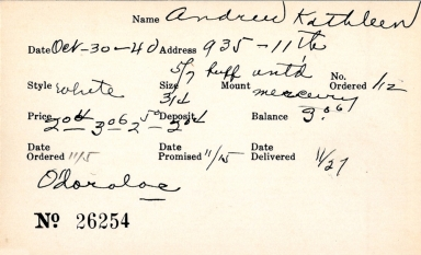 Index card for Kathleen Andrew