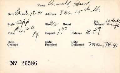 Index card for Bud Arnold