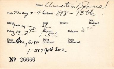 Index card for Jane Austin