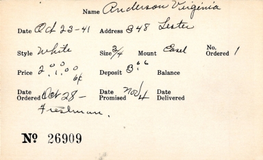 Index card for Virginia Anderson