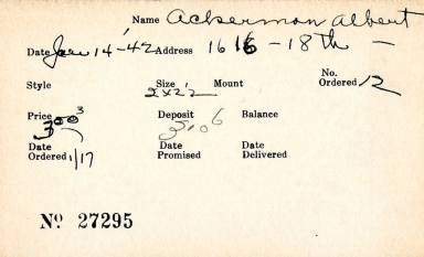 Index card for Albert Ackerman