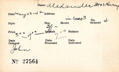 Index card for Mrs. Harry Alexander