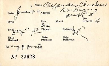 Index card for Harry Chucker Alexander