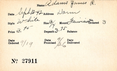 Index card for James R. Adams