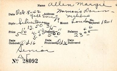 Index card for Margie Allen
