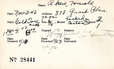 Index card for Harold Akers