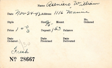 Index card for William Aseniero