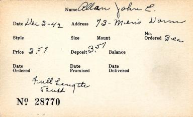 Index card for John E. Allan