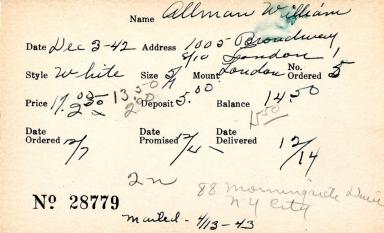 Index card for William Allman