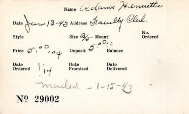 Index card for Henrietta Adams
