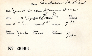 Index card for Millicent Anderson
