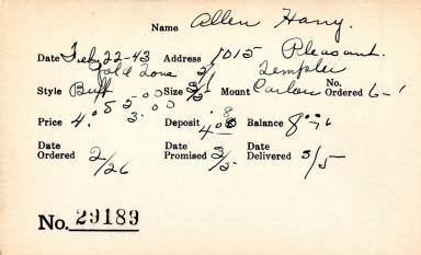 Index card for Harry Allen