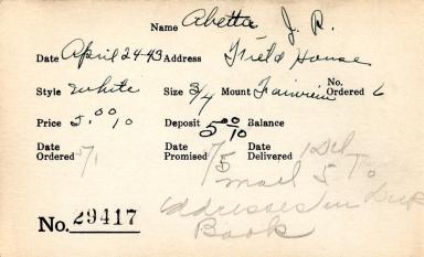 Index card for J. R. Abetta