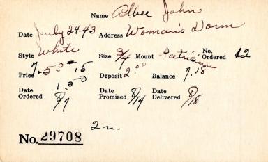Index card for John Albee