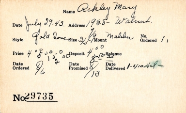 Index card for Mary Ackley
