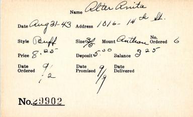 Index card for Anita Alter
