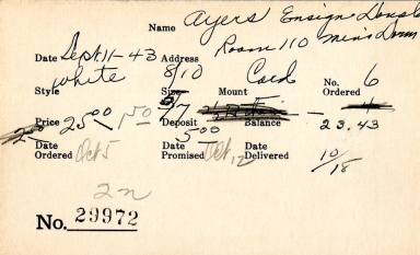 Index card for Donald Ayers