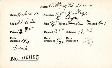 Index card for Doris Albright