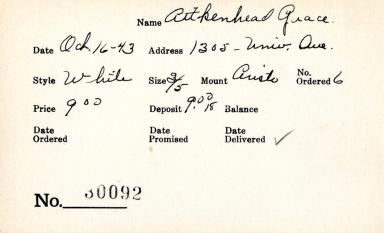 Index card for Grace Aitkenhead
