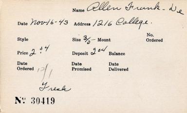 Index card for Frank De Allen