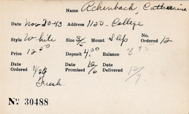 Index card for Catharine Achenbach