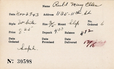 Index card for Mary Ellen Auld