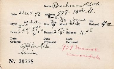 Index card for Edith Bachman