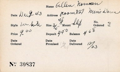 Index card for Norman Allen