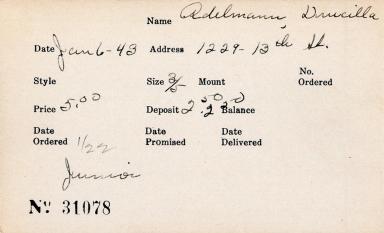 Index card for Drucilla Adelmann