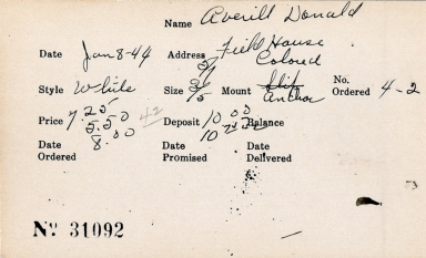 Index card for Donald Averill