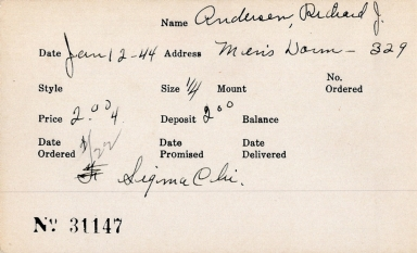 Index card for Richard J. Andersen