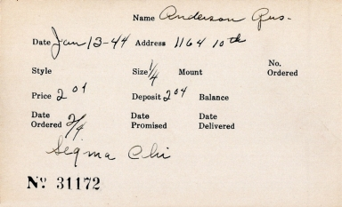 Index card for Gus Anderson