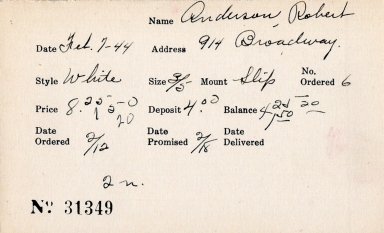 Index card for Robert Anderson