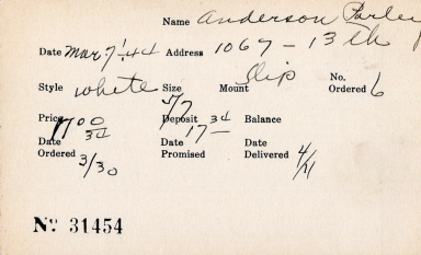 Index card for Parley Anderson