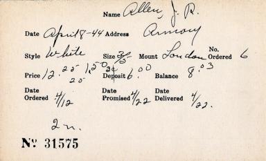 Index card for J. R. Allen