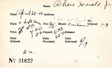 Index card for Harold Akers, Jr.