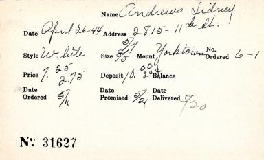 Index card for Sidney Andrews